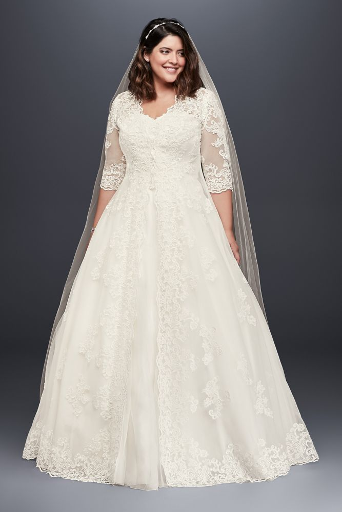 Extra Length Tulle Organza Plus Size Wedding Dress With Long Topper