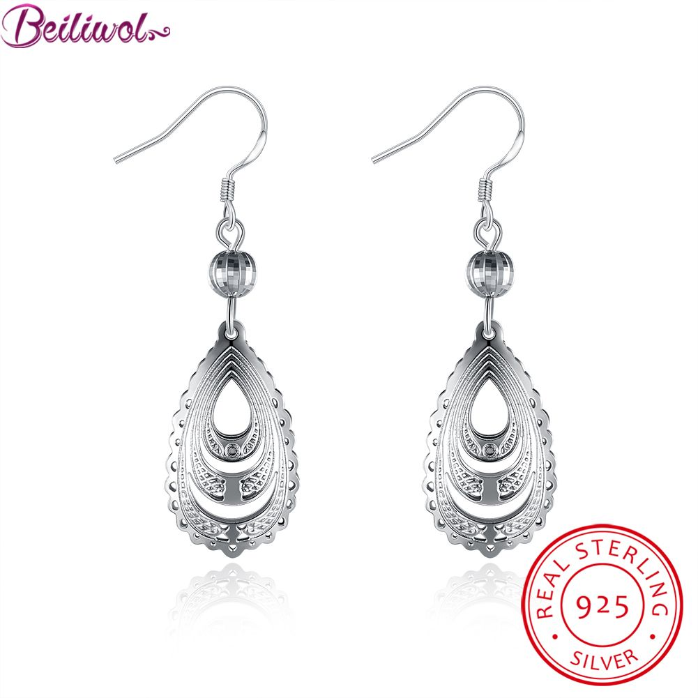 925 Sterling Silver Purple Crystal Filigree Teardrop Water Drop Dangle Earring Ear Hook For Women Girls ooOmr