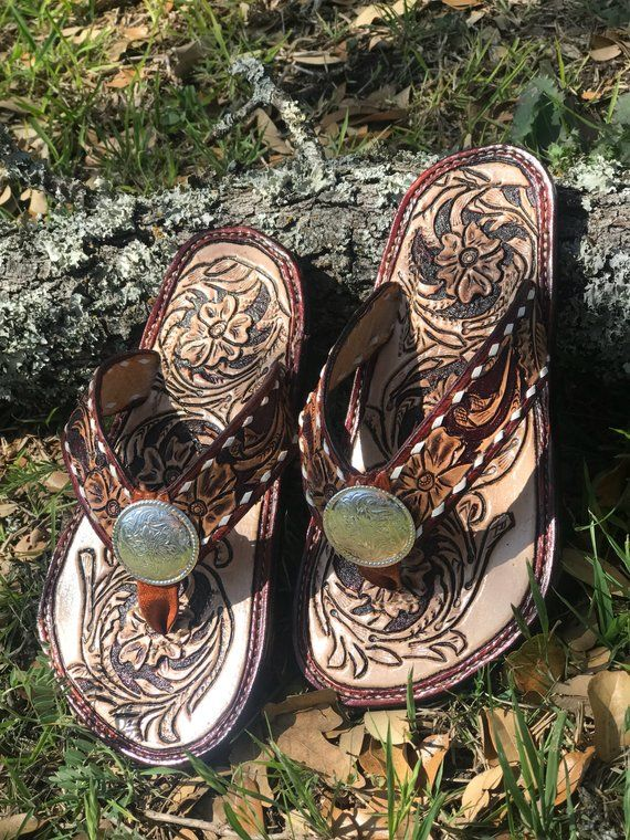 Custom Handtooled Leather Western Floral Flip Flop Style