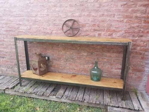 Mesa de arrime para tv led hierro y madera for Remaches de hierro