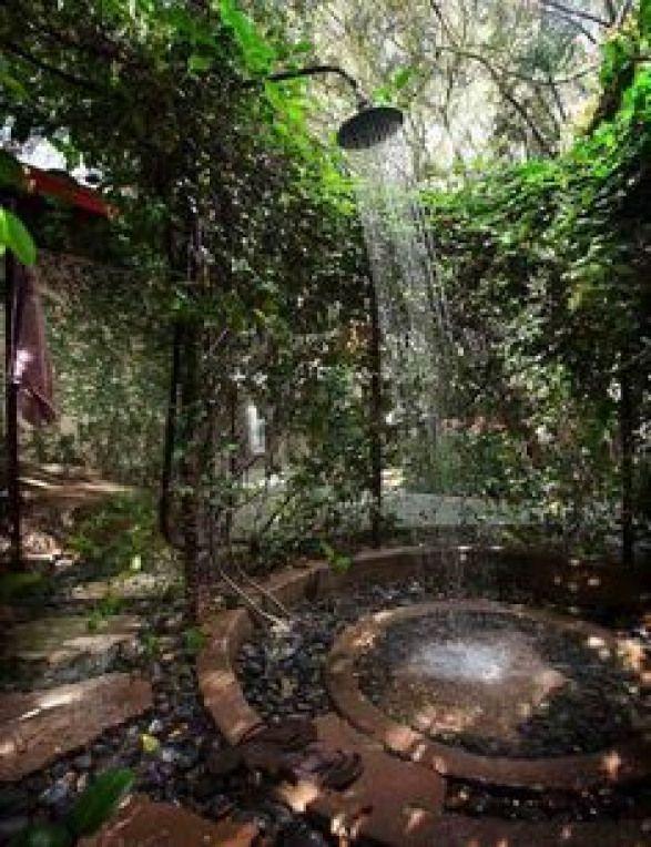 Photo of douche extérieure idée bassin d'eau design plantes #bathroom #bathroom #decora…