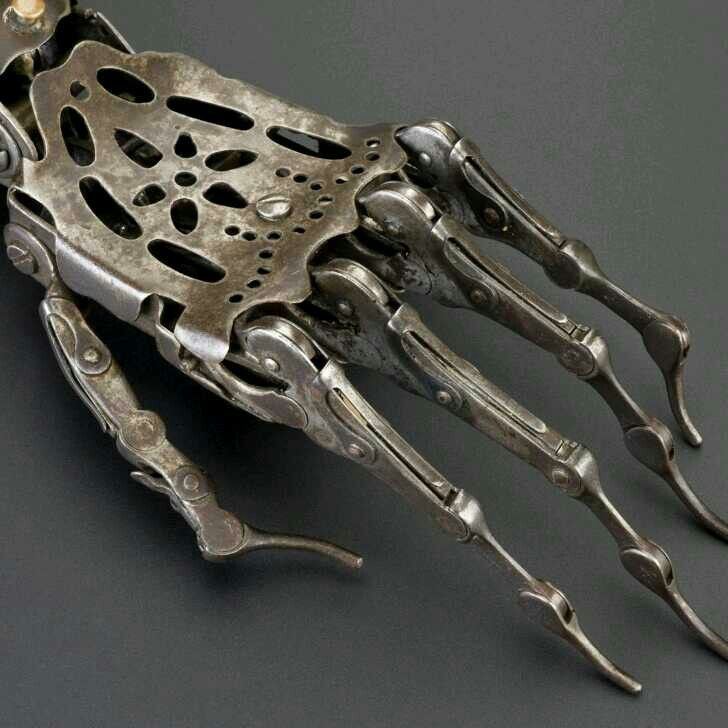 """(150 year old Victorian era prosthetic hand.) It similarly looks like the Beldam's hand from the movie """"Coraline""""."""