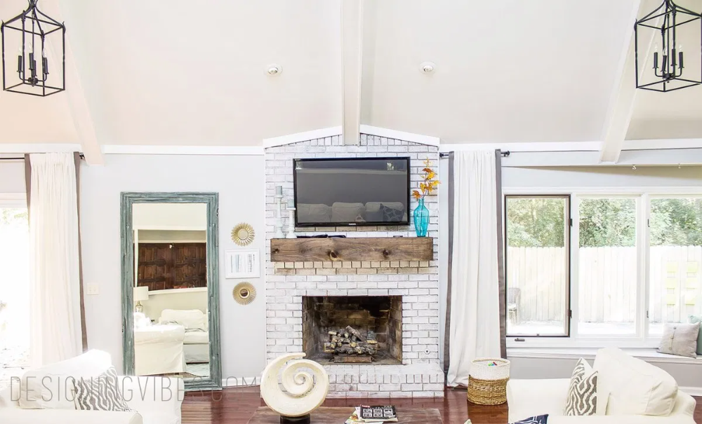 Wood Beam Mantel DIY For Under $30- FIreplace Makeover