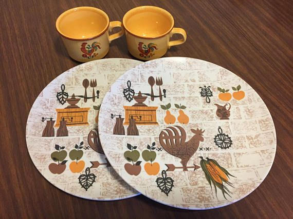 Vintage Texas Ware Plates Dinnerware Taylor Smith Taylor Reveille Rooster Mugs Cups Early American Rustic Farmhouse : texas dinnerware - pezcame.com
