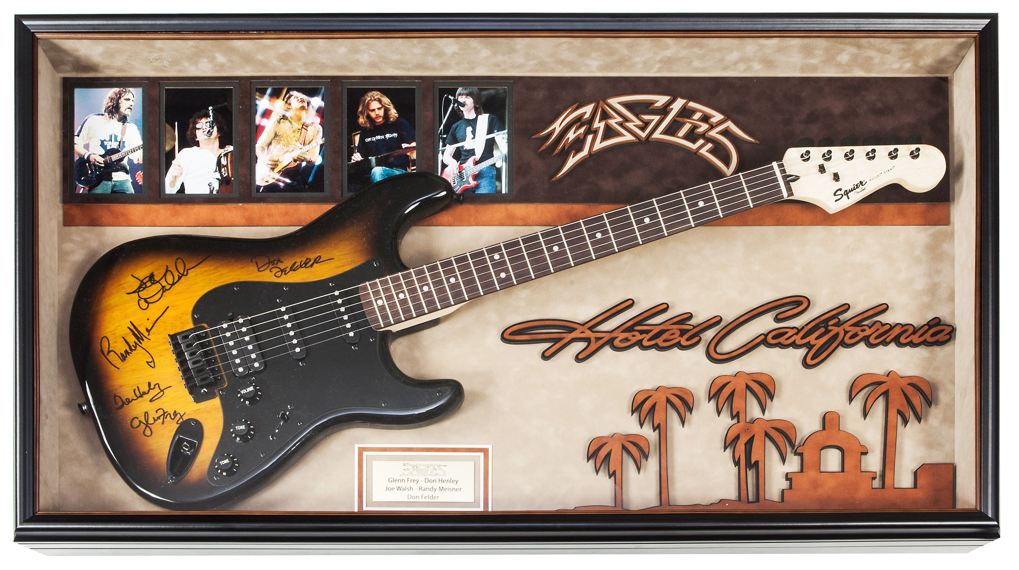 Eagles Signed Guitar Hotel California Custom Framed