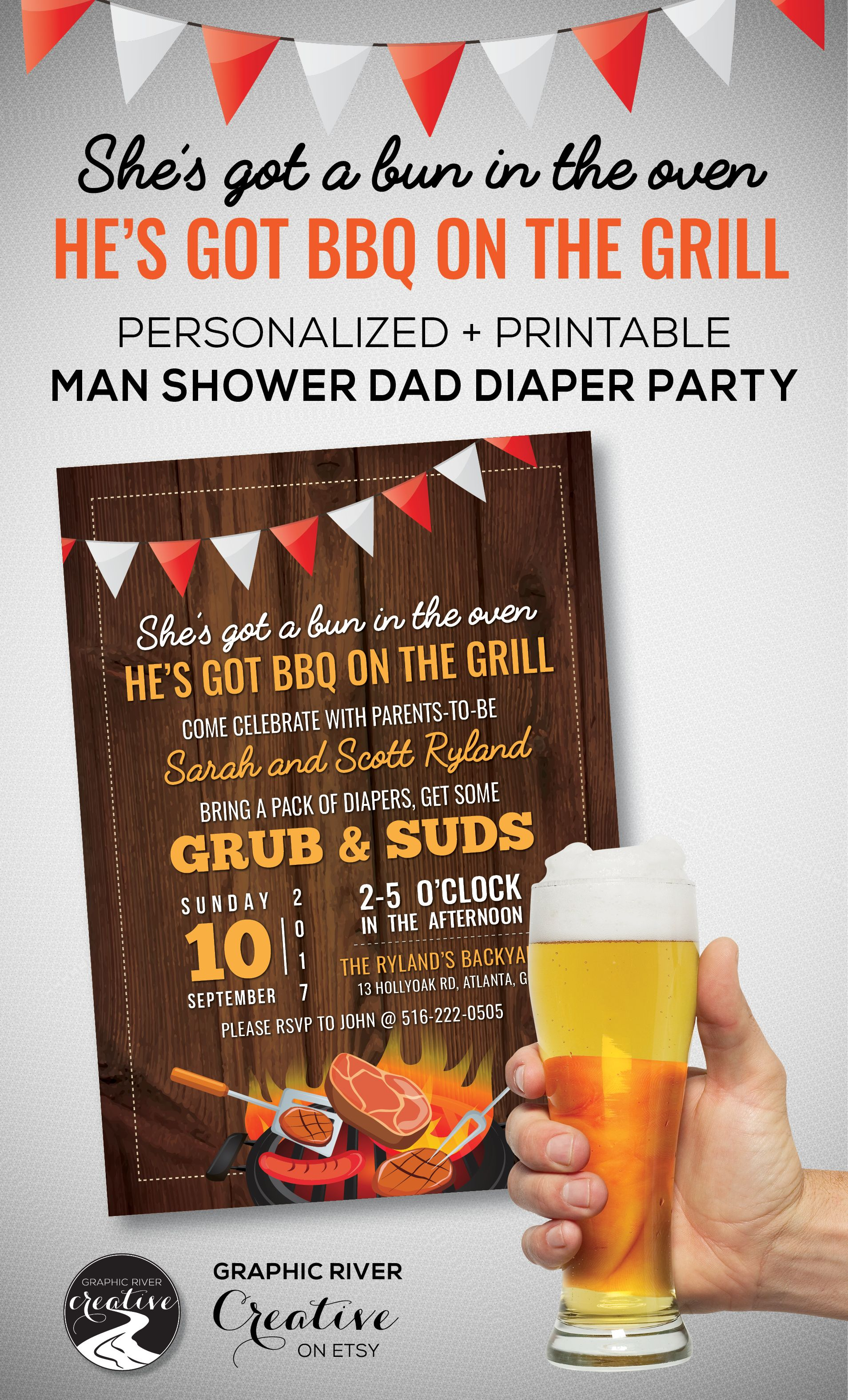 Personalized + Printable Beer BBQ Diaper Party Man Shower Bun in the ...