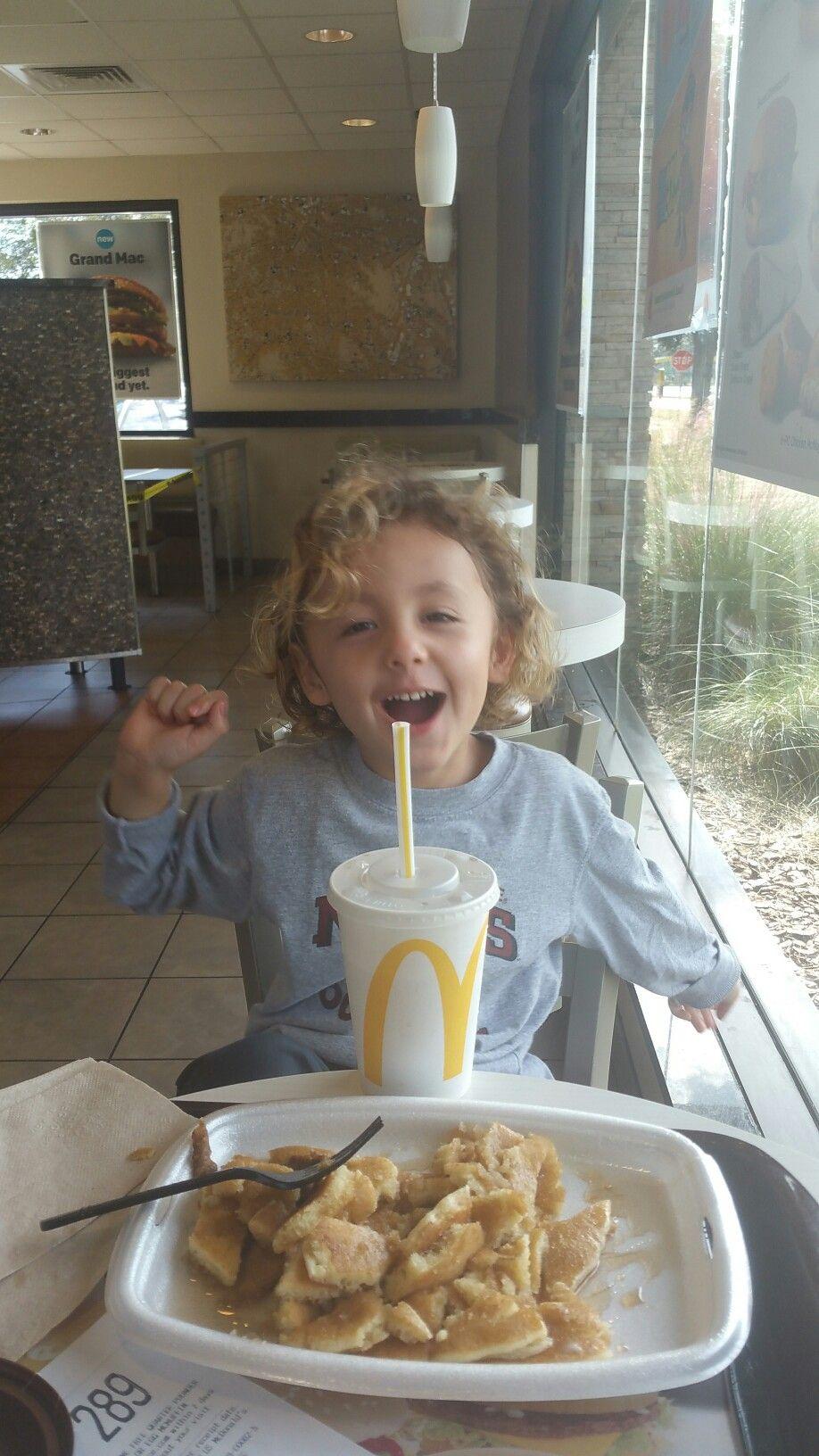 Caleb loves his McDees pancakes