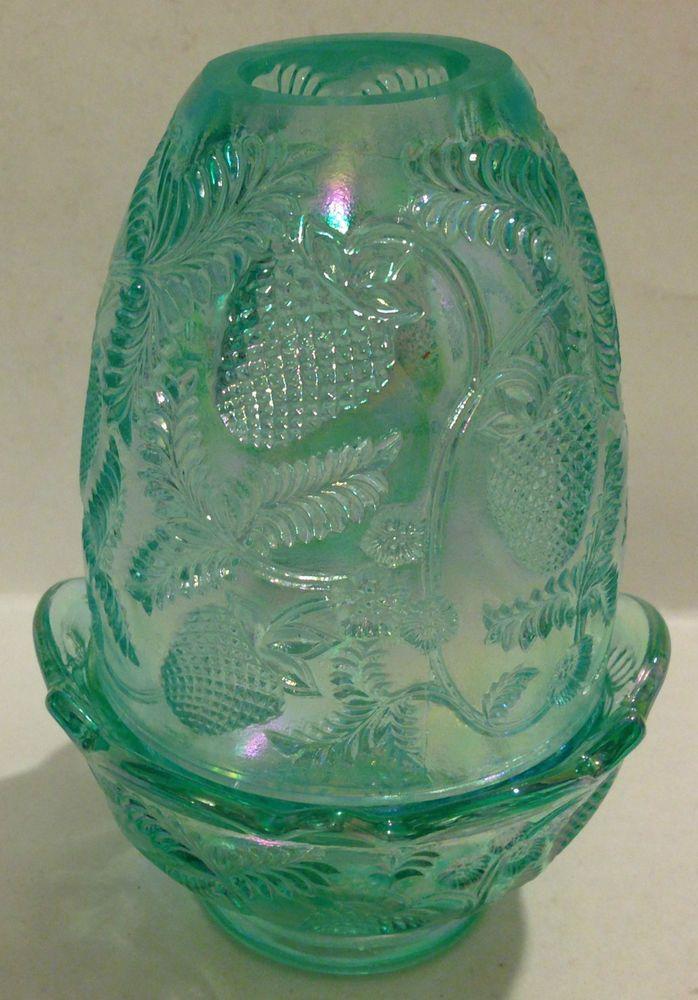 FENTON IRIDESCENT GREEN GLASS FAIRY LAMP W/STRAWBERRY DESIGN #Fenton #FairyLamp