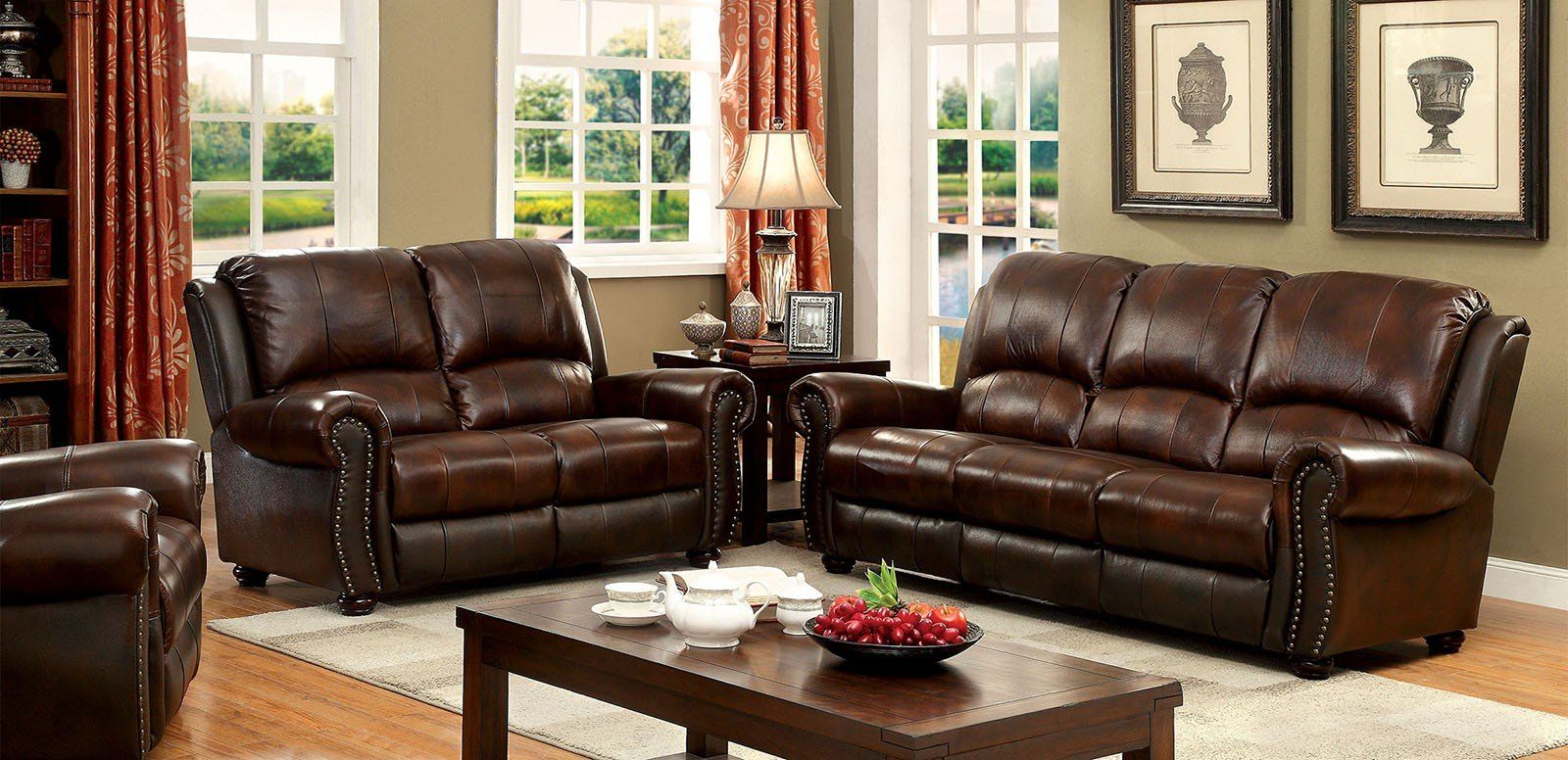 Transitional Style Living Room Furniture Turton Cm6191 Sf Transitional Brown Top Grain Leather Match Sofa