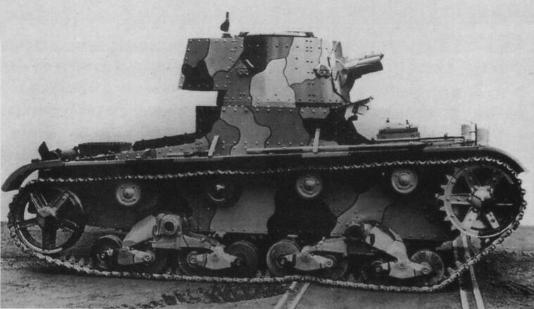 The Chinese Vickers Mk.E Type B tank with a radio, in a four-colour camouflage (factory one?). Note a form of headlights.