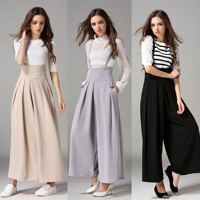 9cd1cffa135 Women Casual Pleated High Waisted Wide Leg Palazzo Pants Suspenders Trousers
