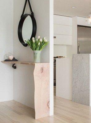 Originale tavolo consolle da ingresso in legno massello for Tavoli moderni on line
