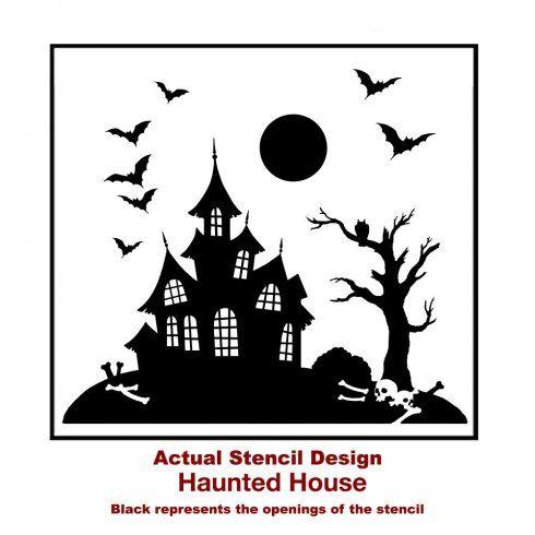 halloween-stencils-design-haunted-house-black-craft | Silhouette ...