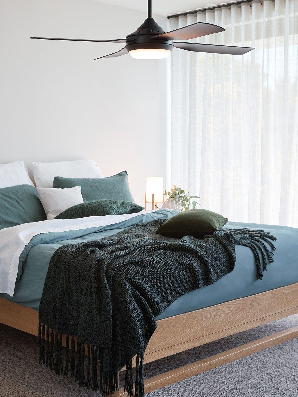 Moonah 122cm Fan with LED Light in Black Bedroom fan