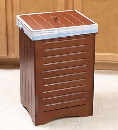 Wooden Wastebasket Trash Kitchen Wooden Bin Can Garbage Lid Wood Wastebasket Home New