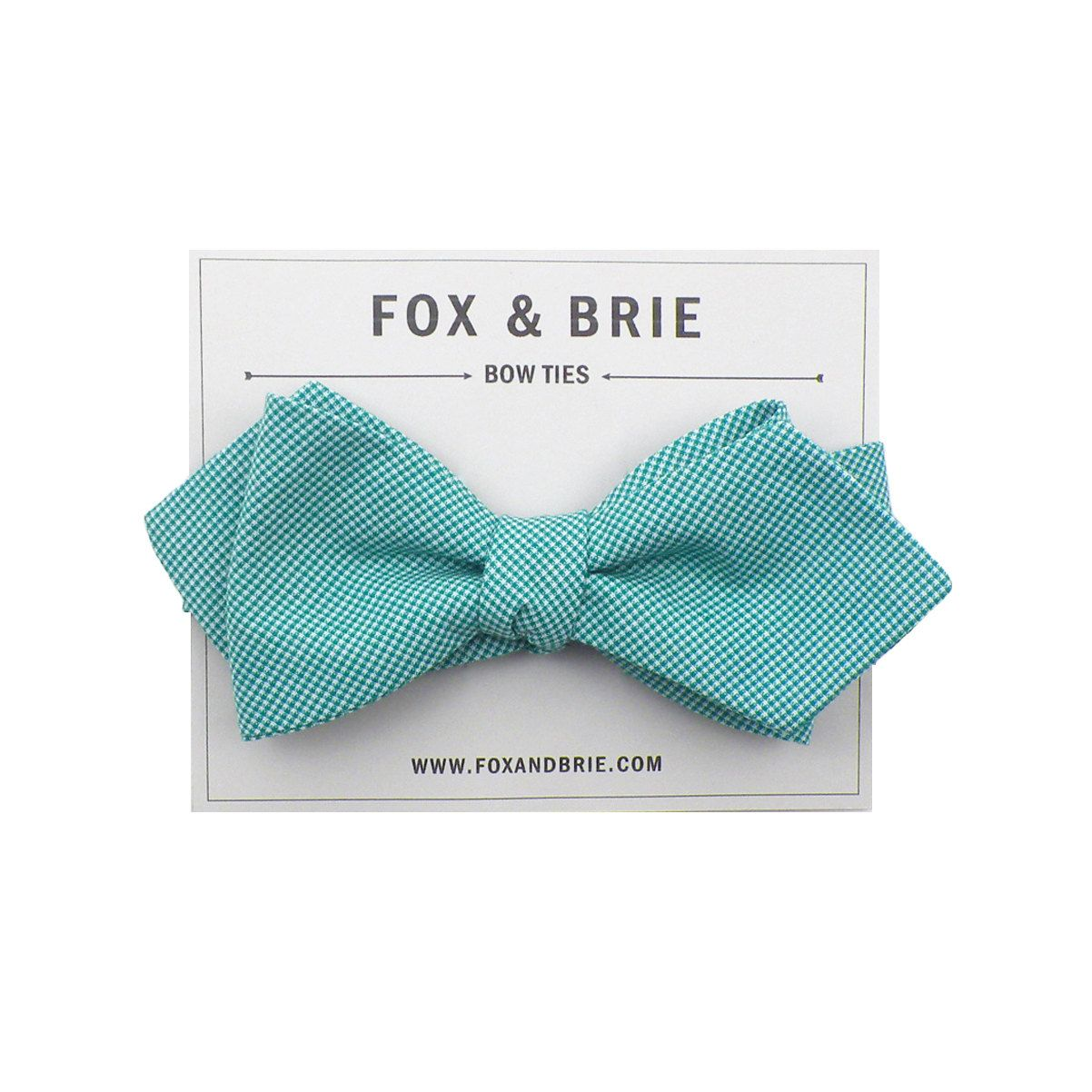 Teal Microcheck (pointed bow tie)