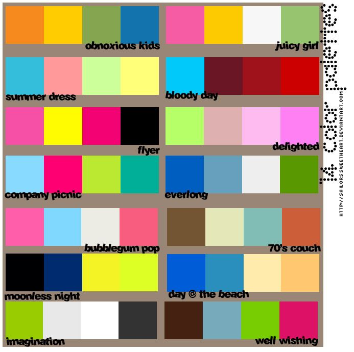 No Need To Spend A Fortune On These: 14 Color Palettes. All Four Colors. For Use On Websites