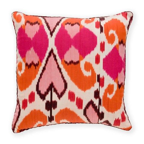 Madeline Weinrib Hot Pink Orange Mor Ikat Pillow Ikat Pillows