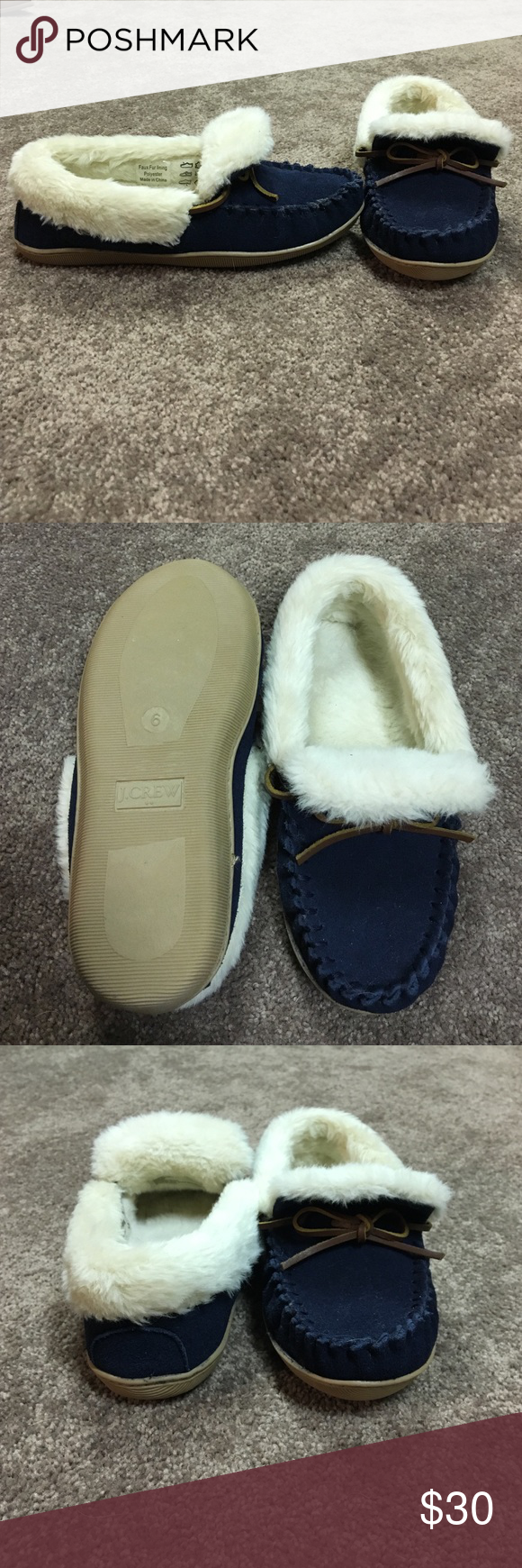 J. Crew Navy Moccasins J. Crew Navy Moccasins. Never Worn. Size 6 J. Crew Shoes Moccasins