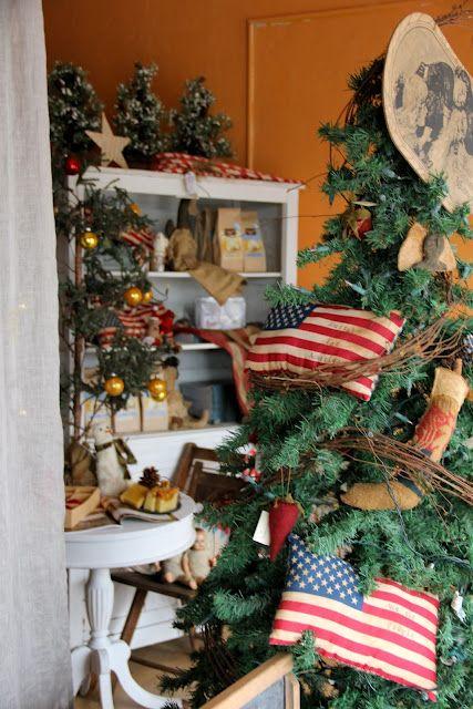 Americana Christmas Primitive Home Decorating Holiday Decor Christmas Tree Themes