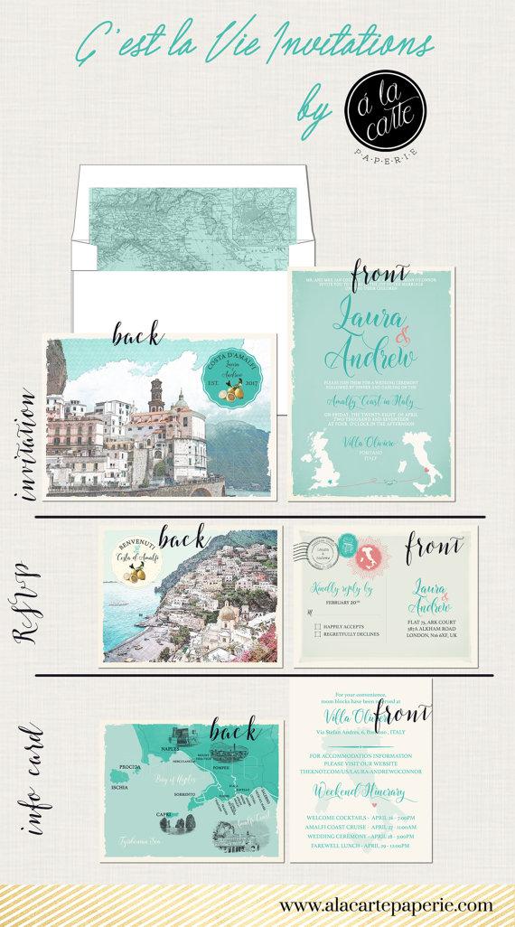 Destination Wedding Invitation Amalfi Coast Positano Atrani