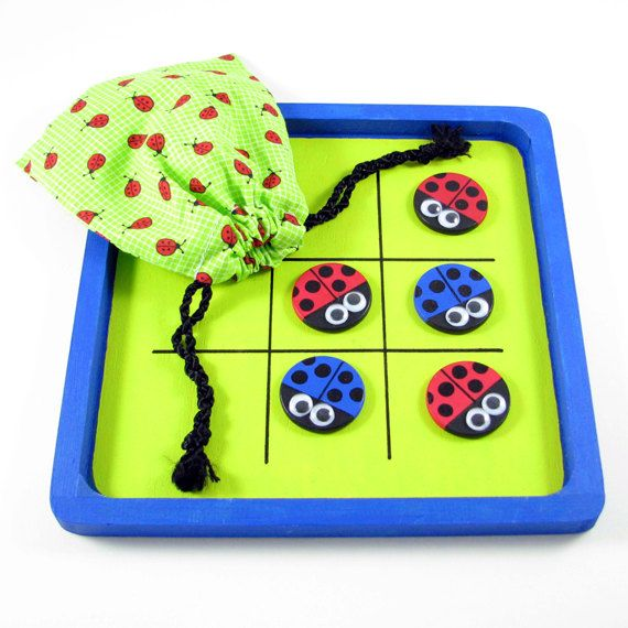 Ladybug tic tac toe with your choice of gameboard and pieces. $15.00, via Etsy.