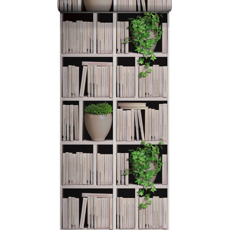 Papier Peint Vinyle Sur Intisse Bibliotheque Lierre Ecru Larg