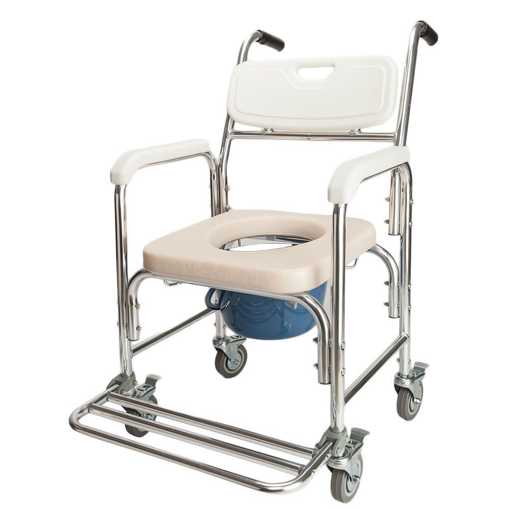 Shower Commode Wheelchair Toilet And Bedside Transport Chair W