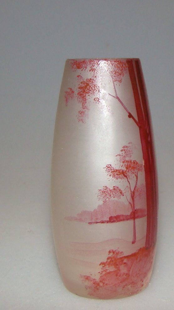 , LEGRAS?., NANCY. Manufacterer: DAUM?., NANCY?. ,FRANCE. THIS SMALL VASE PAINTED A NICE LANDSCAPE OF A MATTE DESIGN IS A BEAUTIFUL DECORATIVE ITEM AND A TYPICAL EXAMPLE OF ART NOUNEAU VASES AROUND 1900. | eBay!