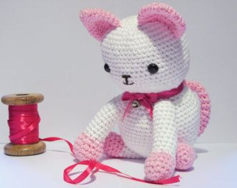 Large Pink Amigurumi Crochet Cat / Kitten.  Hand made with cotton yarn. Perfect Christmas gift. White cat.