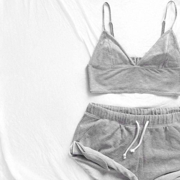 Shorts  grey bralette bralet set outfit cute night wear minimal bra  athletic girls drawstring deb022ae8