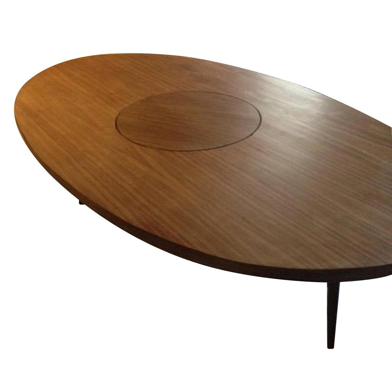 Custom Walnut Oval Table W/ Lazy Susan