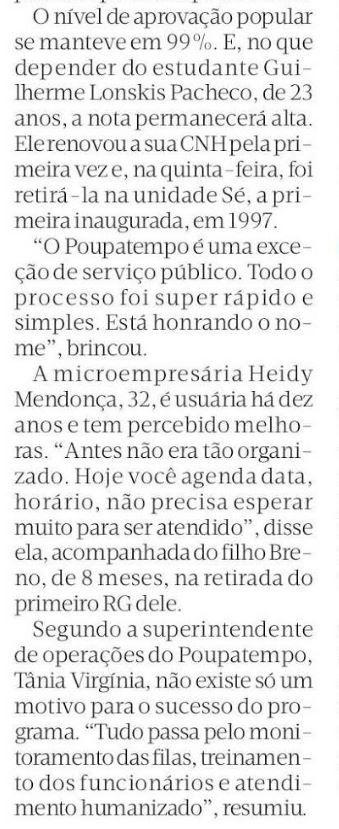 Poupatempo vira xodó do serviço público (Diário de S. Paulo, 6/2/2016)