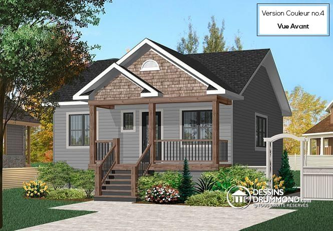 W3115 - Bungalow économique champêtre, 2 chambres, cuisine avec îlot - liste materiaux construction maison