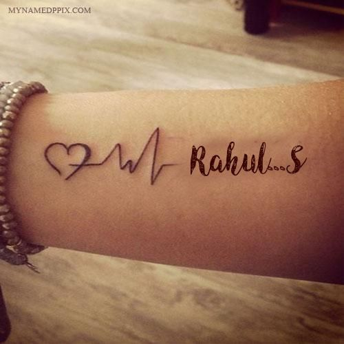 Tattoo Quotes With Names: Write Name On Love Heartbeat Tattoo Image