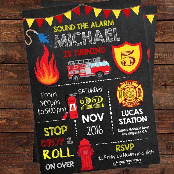 Fire truck birthday invitation fireman birthday boy invitations
