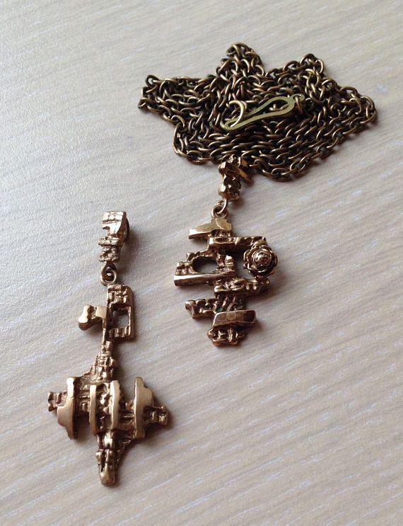 Kalevi Sara (FI), two vintage brutalist bronze pendants and a chain, 1970s. #finland   finlandjewelry.com #forsale
