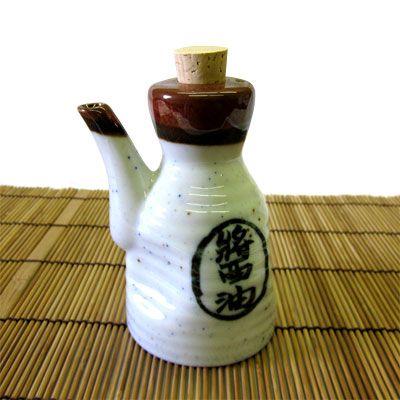 Made in Japan Japanese Porcelain Dispenser Bottle Jar Soy Sauce Kanji Character