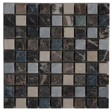 Mozaïek tegel marmer 15x15 cm | Marmersoort: Emperador Dark, Crema ...