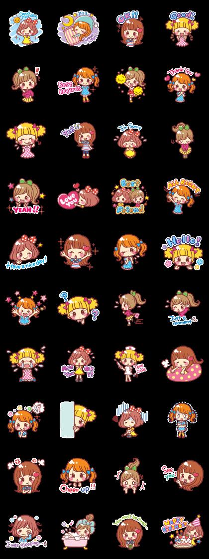 Japanese Kawaii Girls by Hiroko Yokoyama - LINE Creators' Stickers