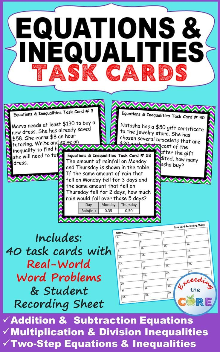 Equations Inequalities Word Problems Task Cards Includes 40 Task Cards A Student Answer Shee Word Problems Task Cards Inequality Word Problems Task Cards