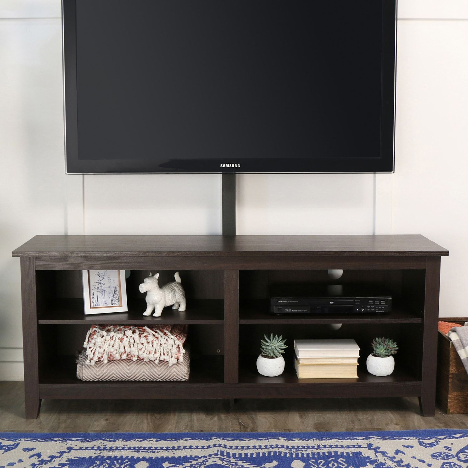 58 Espresso Tv Stand Console With Mount Tv Stand Wood Tv Stand With Mount Wood Tv Stand Rustic