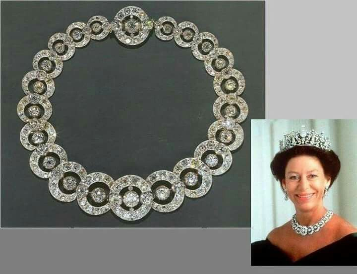 The Teck Circle tiara worn as a necklace by Princess Margaret