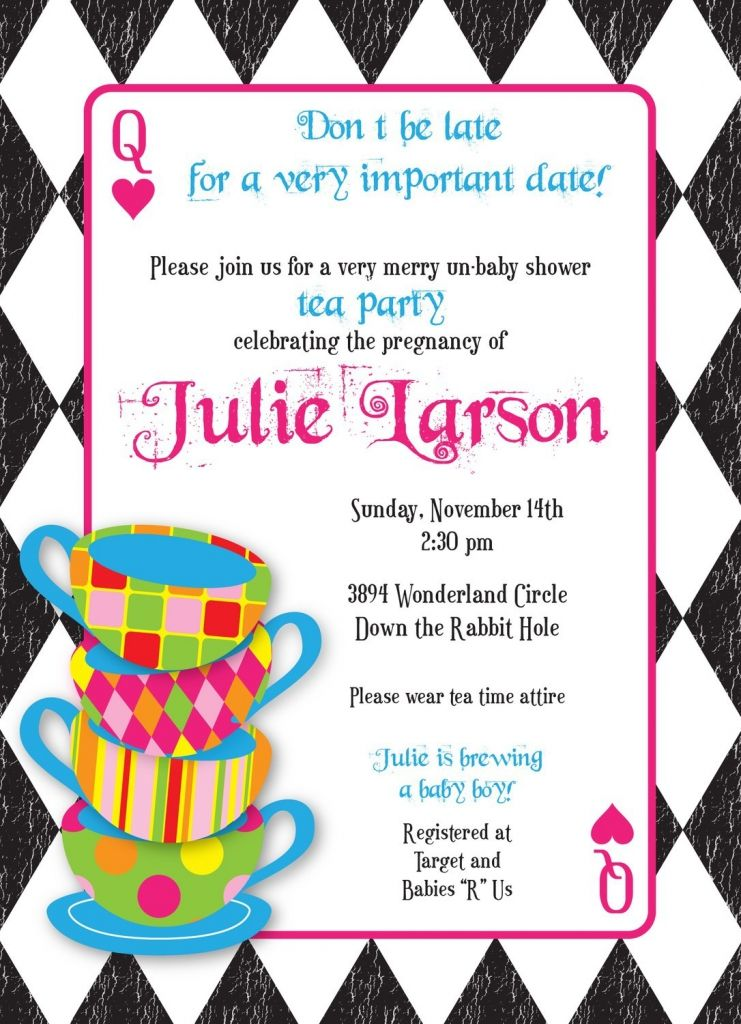 mad hatter tea party invitations templates free wonderland party