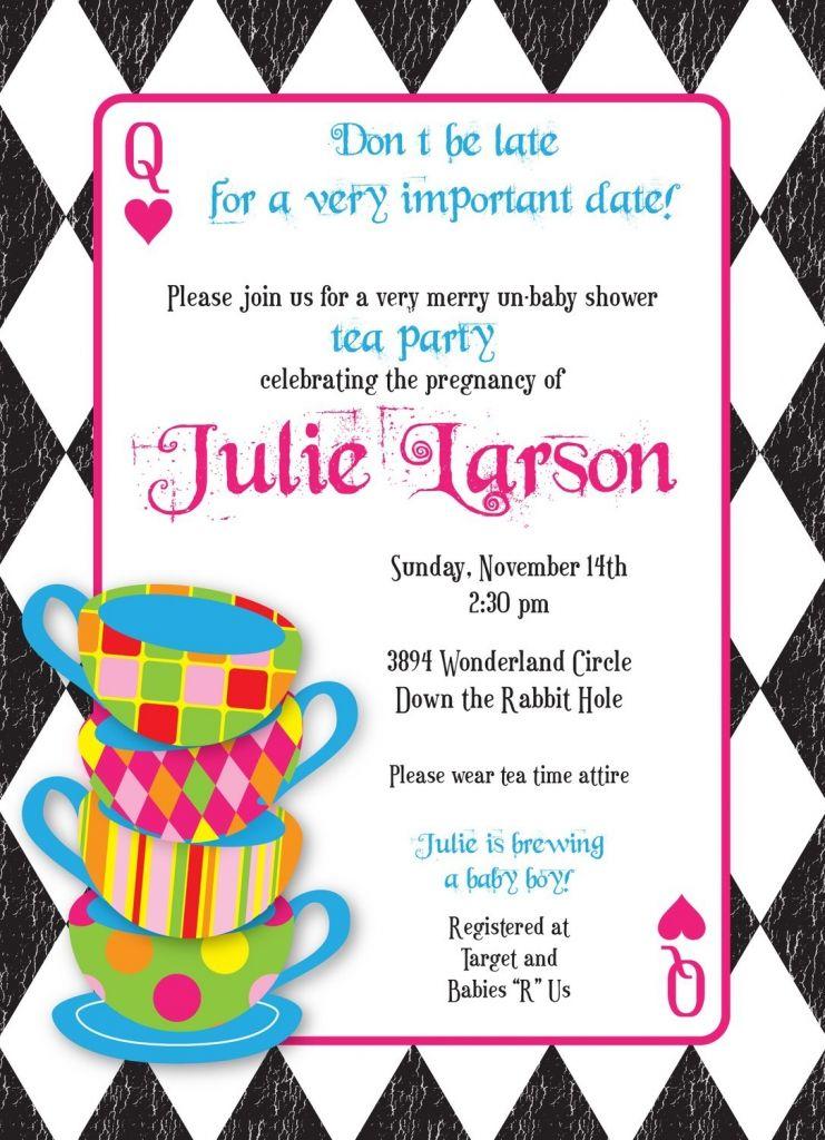 Mad Hatter Tea Party Invitations Templates Free Wonderland