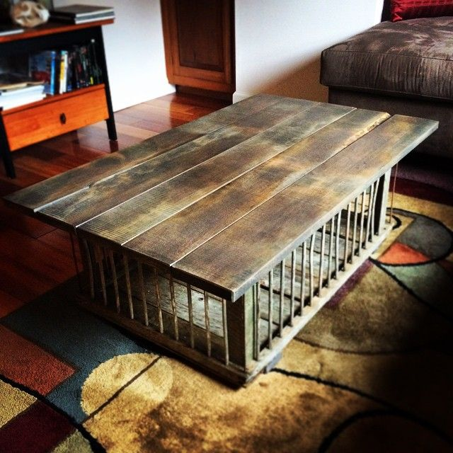 my son made me this chicken crate coffee table for christmas! it's