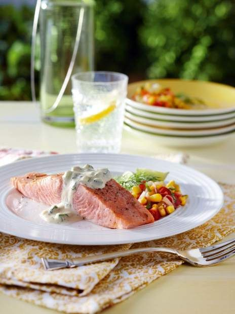Roasting slowly keeps salmon moist and creamy | TribLIVE,- WHOLE SLOW-ROASTED SALMON WITH SWEET MUSTARD.DILL AIOLI