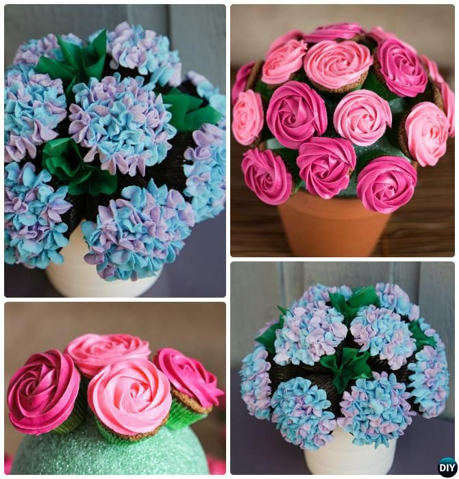 DIY Cupcake Flower Bouquet in Pot-20 Gorgeous Pull Apart Cupcake ...
