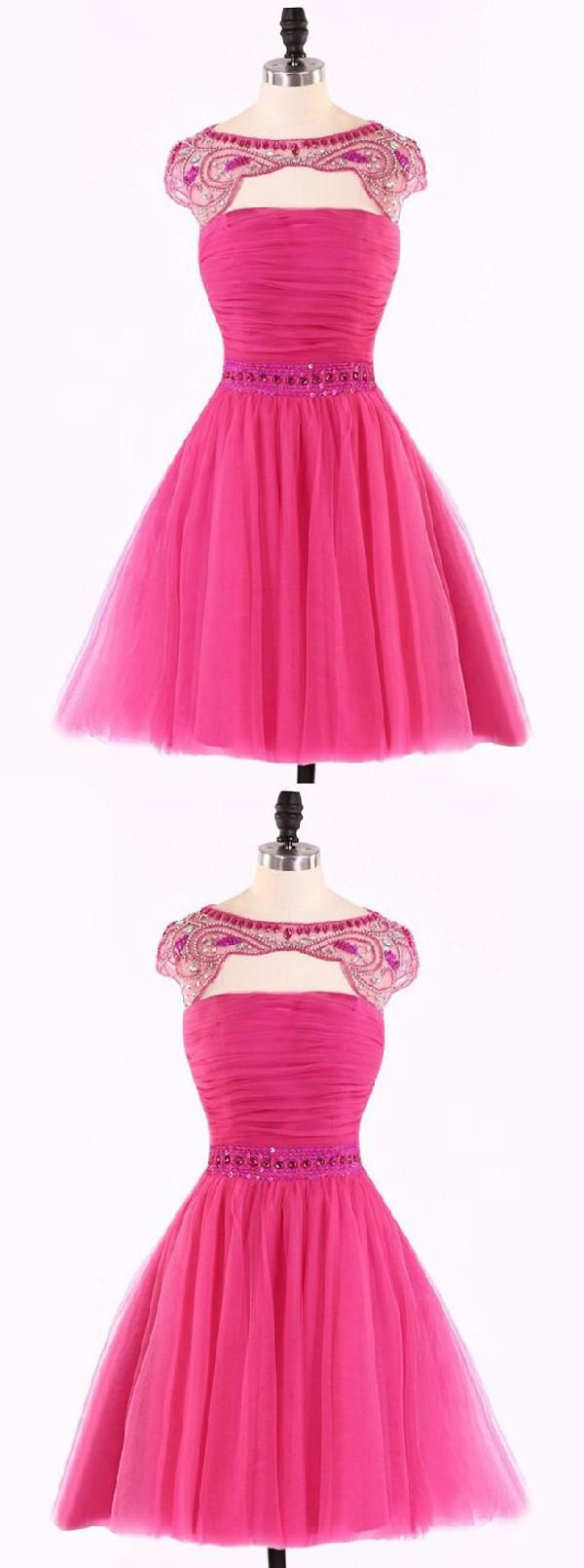 3b076bc942f Custom Made Delightful Prom Dresses Short Cute A-line Hot Pink Beads Short  Homecoming Dress With Open Back Homecoming Dresses