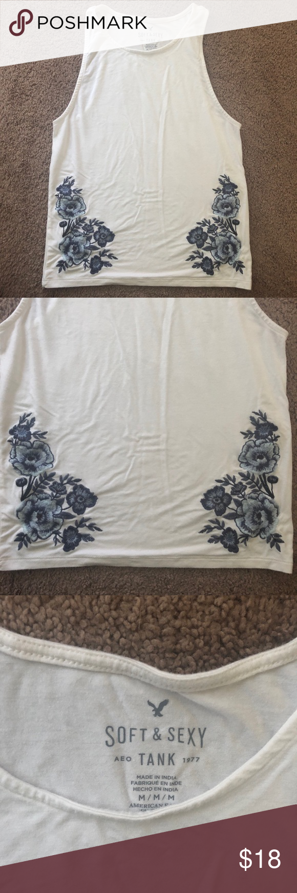 American Eagle Flower Embroidered Tank Top